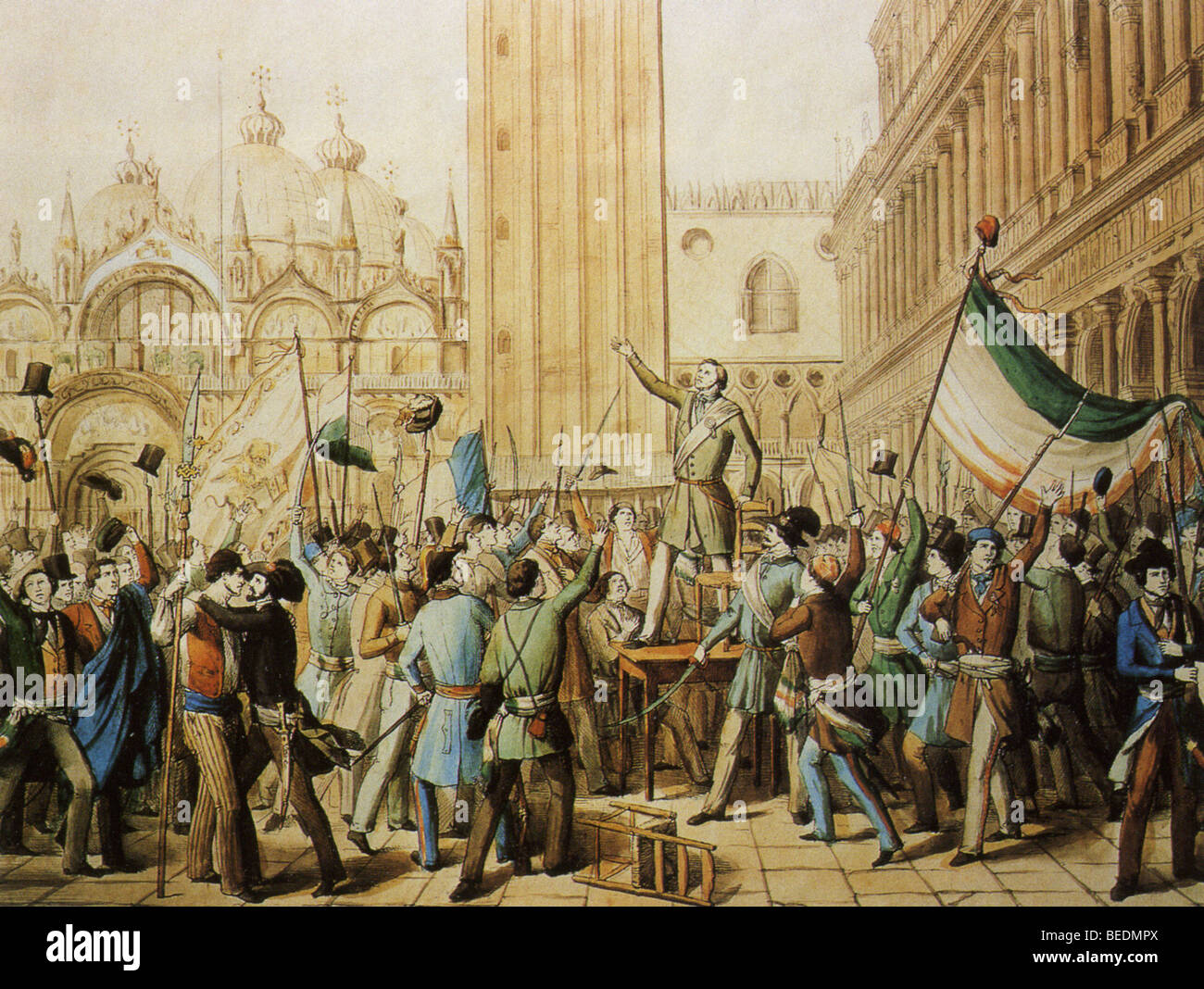 VENETIAN REPUBLIC is proclaimed in St Mark's Square on 23 March 1848 freeing the Venetians from the Austro-Hungarian - Stock Image