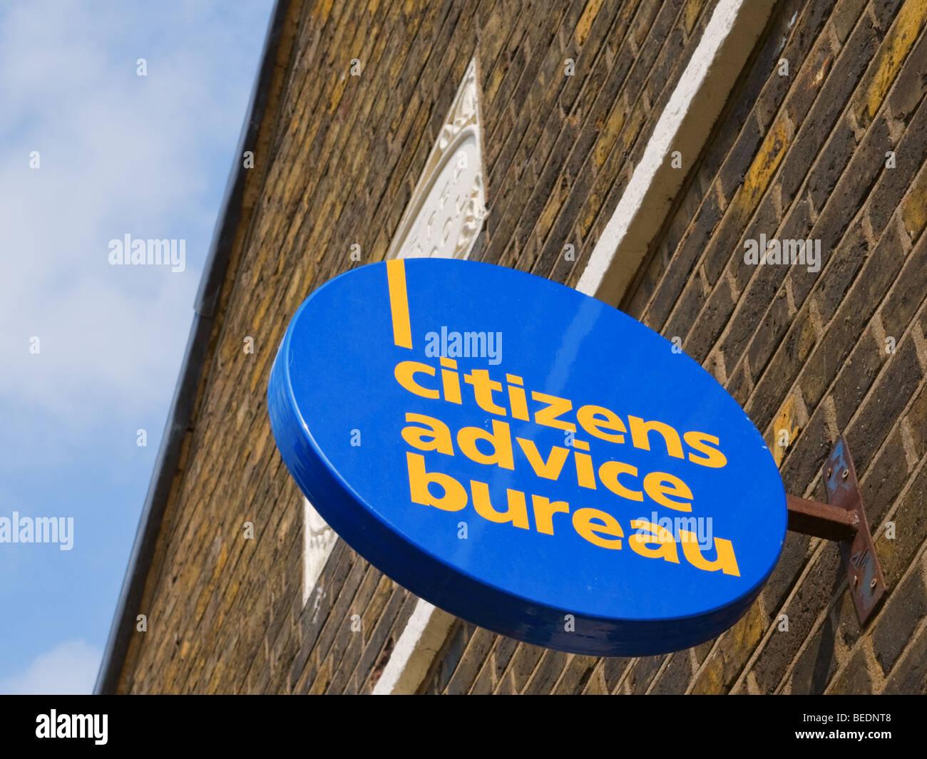 Citizens Advice Bureau high street shop sign - Stock Image