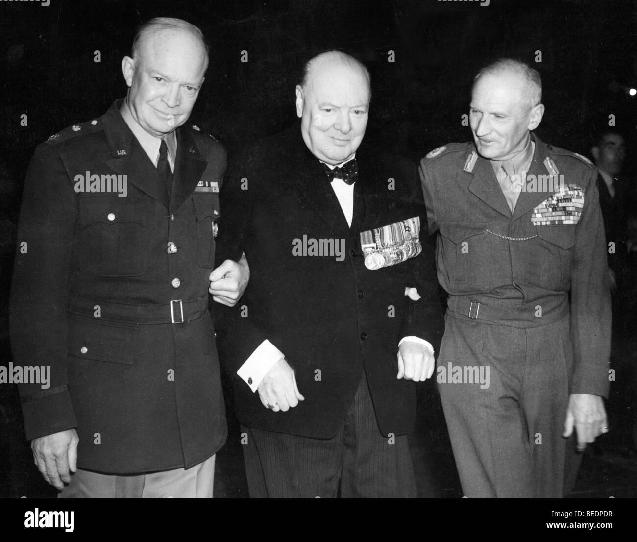 5533956 (900324) v.l.n.r.: General Dwight D. EISENHOWER, spaeterer amerikanischer Pr‰sident , Winston CHURCHILL - Stock Image