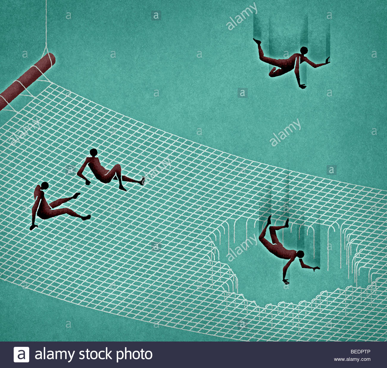 People falling through hole in safety net - Stock Image