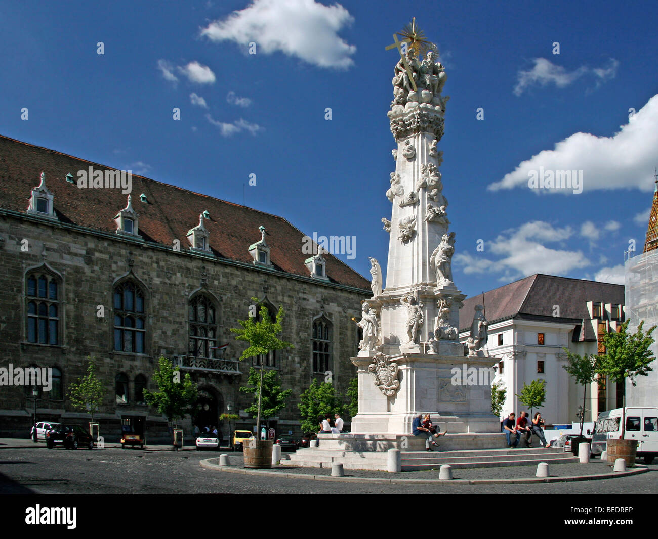 Holy Trinity Column, Baroque plague column with figures of saints, 14 m high, commemorating the plague epidemic Stock Photo