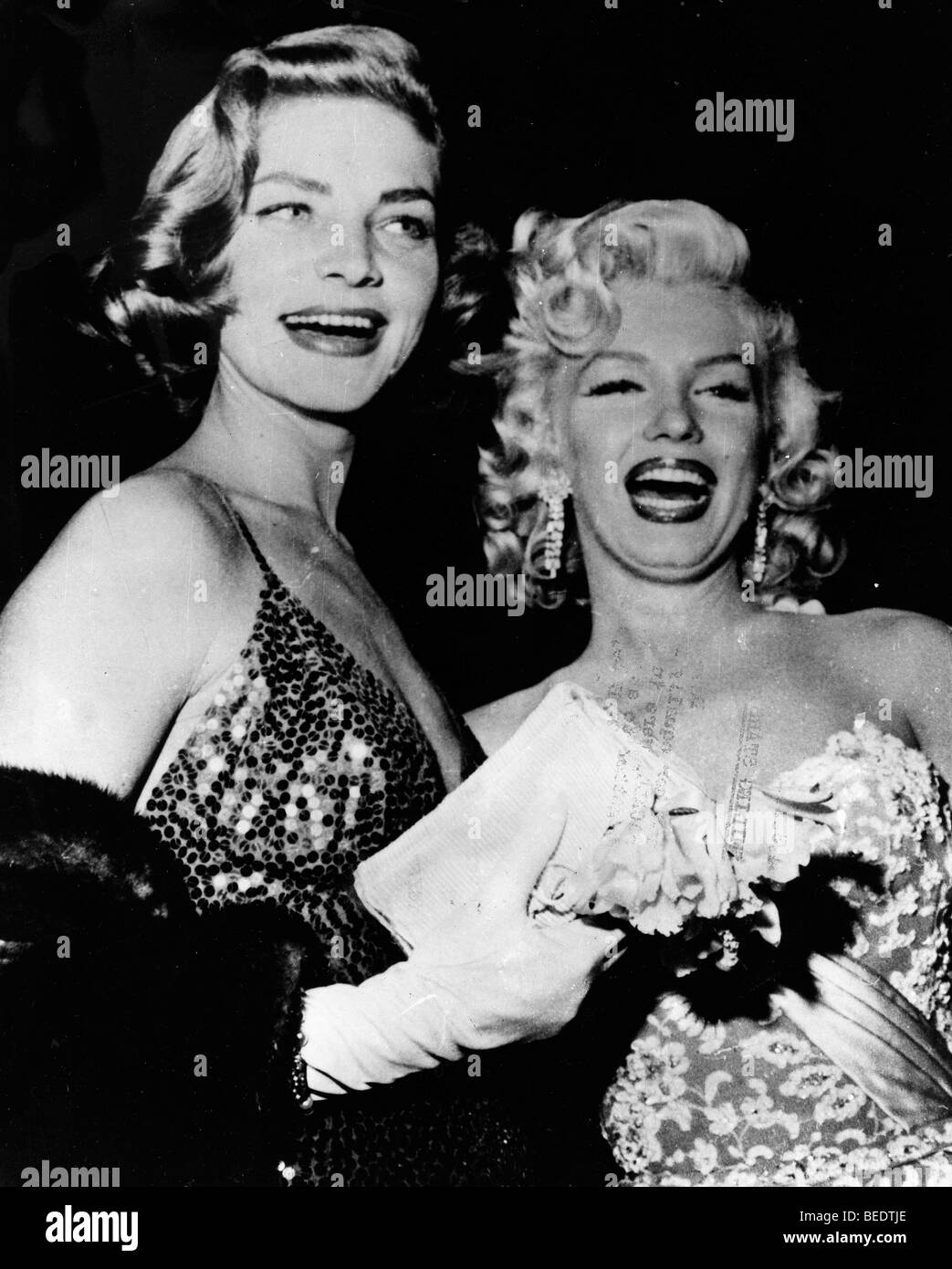 Starlets Marilyn Monroe and Lauren Bacall - Stock Image