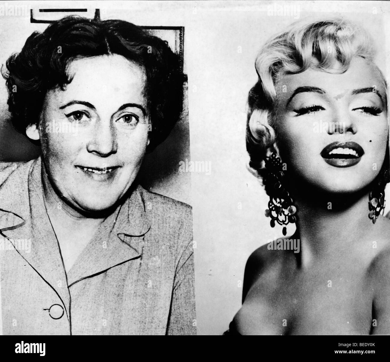 Malene Dybvig Nielsen and Marilyn Monroe's pictures; Nielsen believes they're sisters - Stock Image