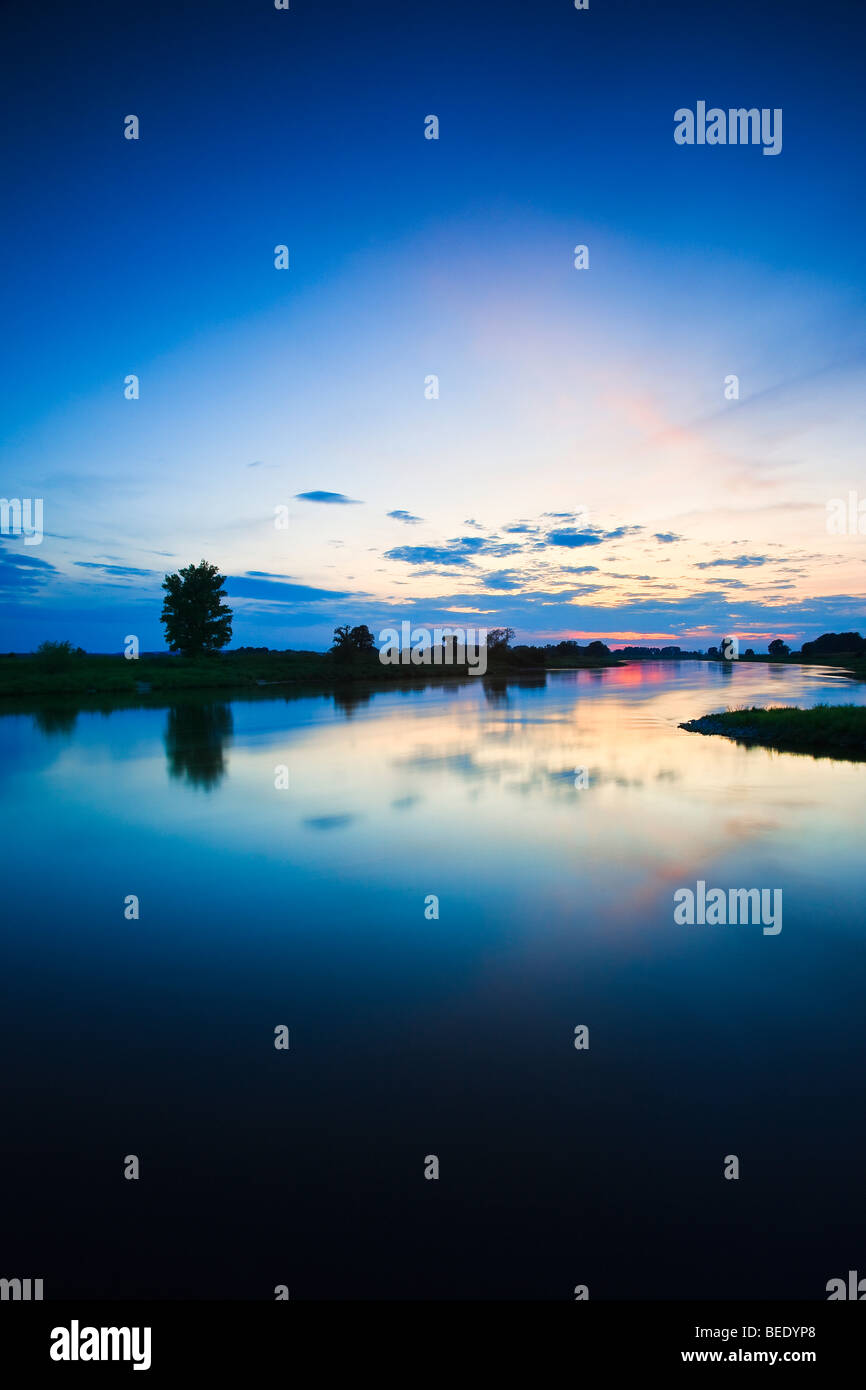 Elbe River at twilight, long exposure, Nordsachsen district, Saxony, Germany, Europe Stock Photo