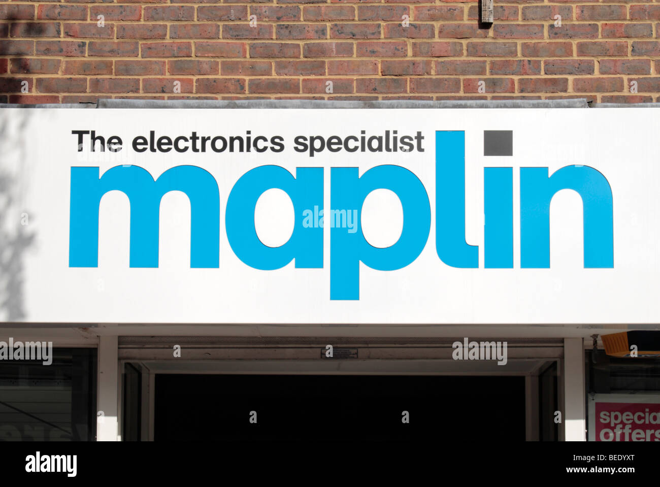 The logo and branding sign outside a Maplins Electronics shop in Harrow, Middlesex, UK. - Stock Image