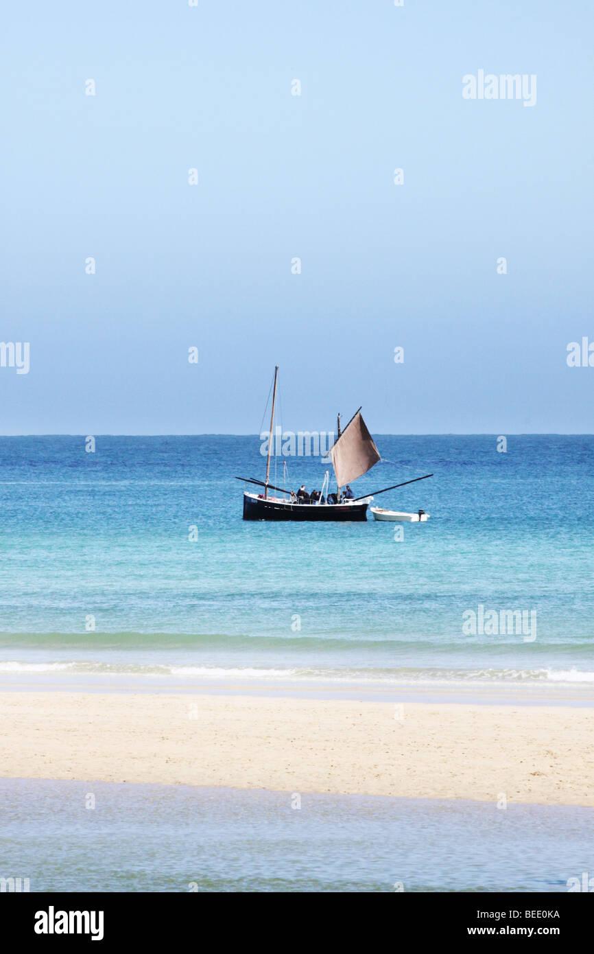 sailing boat on the sea - Stock Image