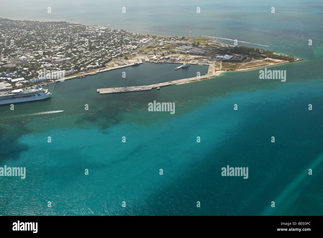 Aerial photo of Key West, Fort Zachary Taylor Historic State Park and sea port - Stock Image