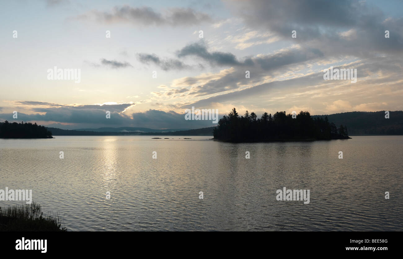 The Lake of Two Rivers at dawn panoramic scenery. - Stock Image