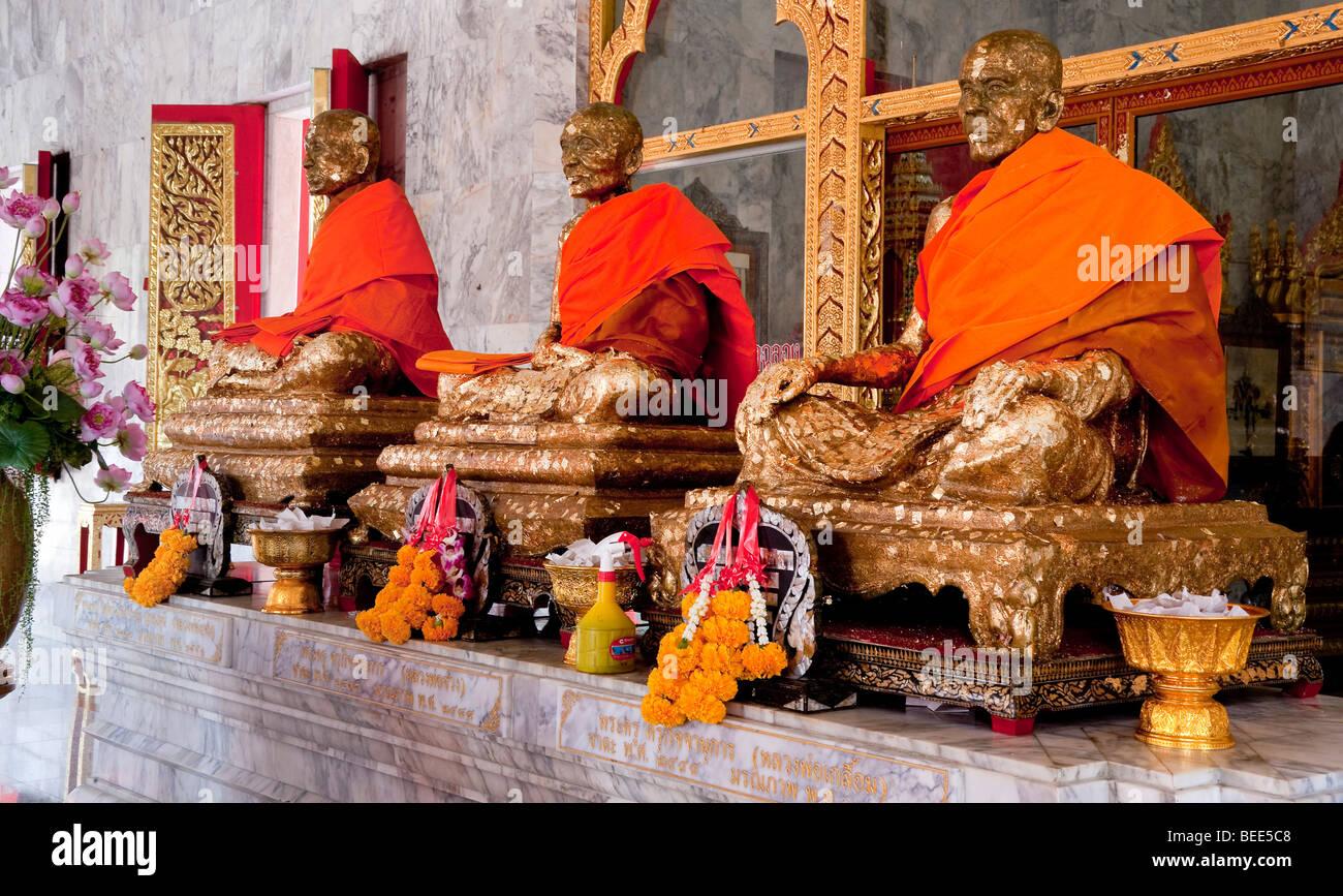 Statues of monks Wat Chalong Phuket Island Southern Thailand Southeast Asia - Stock Image