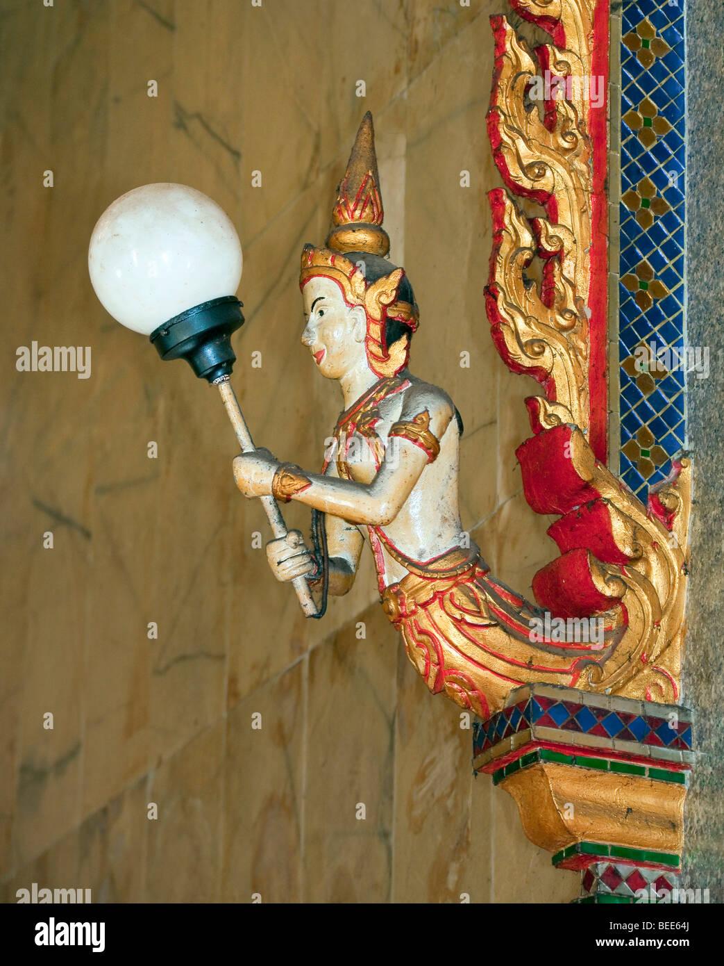 Lamp Buddhist Wat Ladthiwanaram temple Chalong Phuket Island Southern Thailand Southeast Asia - Stock Image