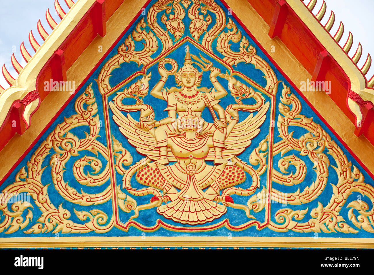 Wat Chalong temple detail of a temple building Phuket Island Southern Thailand Southeast Asia - Stock Image
