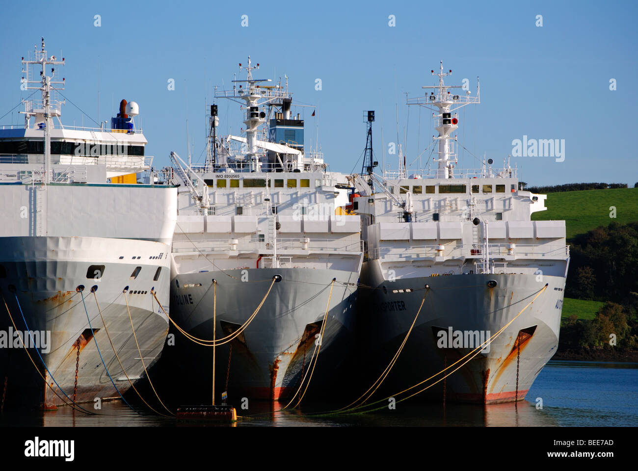 large cargo ships laid up in a deep creek on the river fal near truro in cornwall, uk - Stock Image