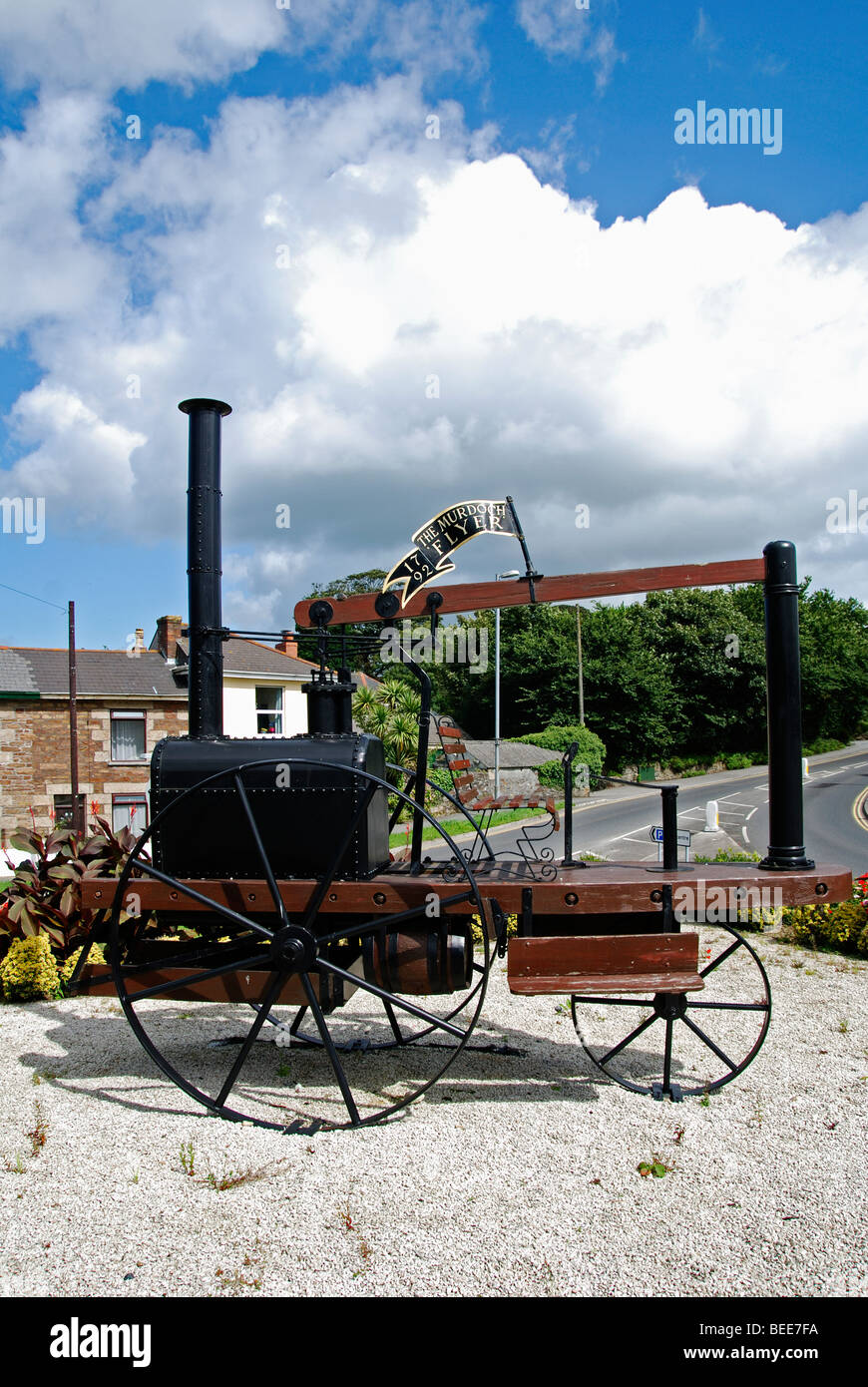a replica of the ' murdoch flyer ' in redruth,cornwall( one of the first steam road transport engines ) - Stock Image