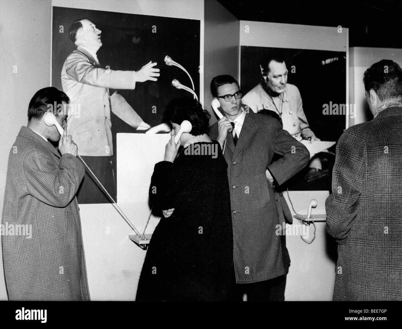 voices of Hitler and the other Nazi leaders are part of the documentation in an exhibition - Stock Image