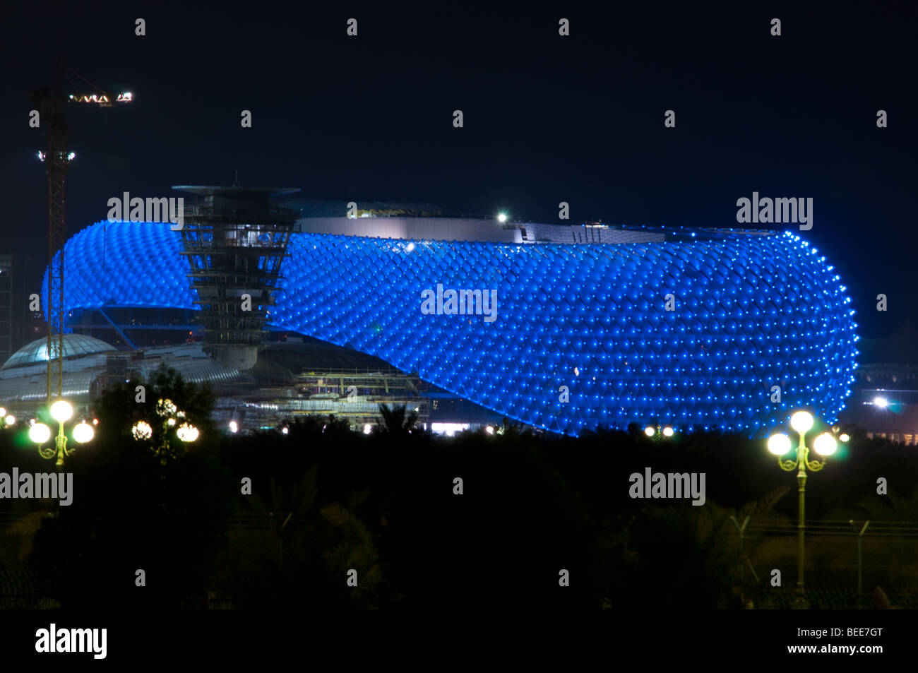 Yas Island Hotel in Abu Dhabi built at the Formula 1 Grand Prix Circuit - Stock Image
