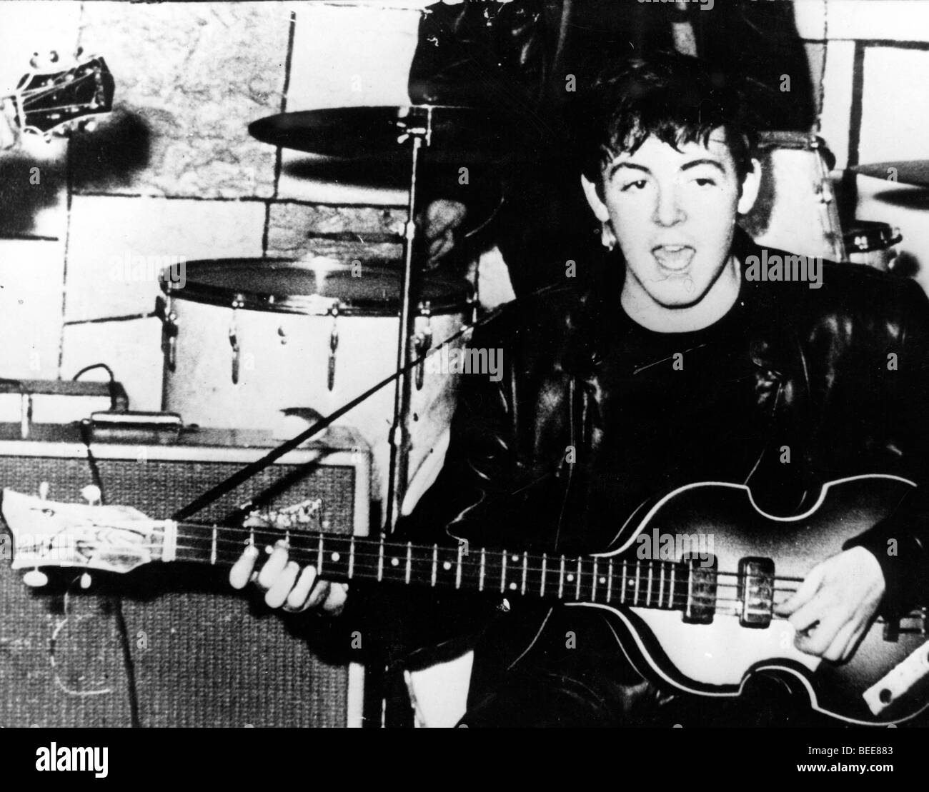 The Beatle's member Paul McCartney on stage at the Cavern - Stock Image
