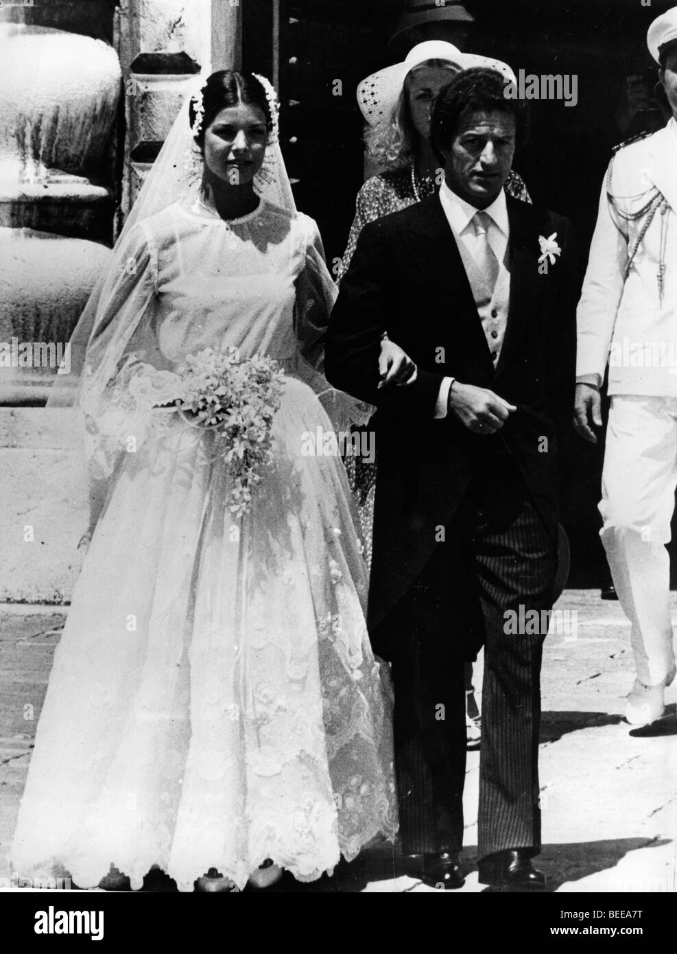 Caroline, Princess of Hanover, and Philippe Junot are married in Monaco. Stock Photo