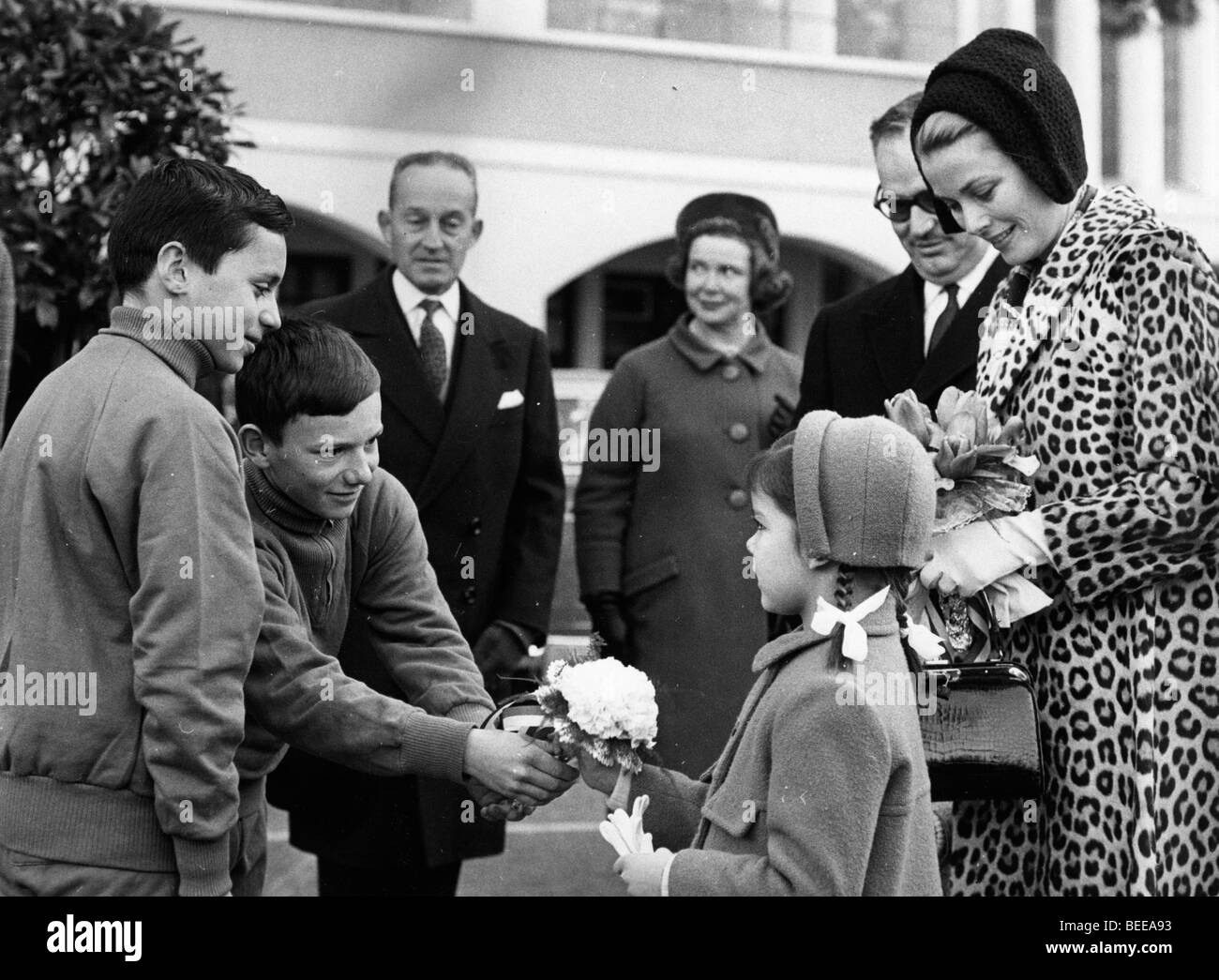Grace Kelly, Princess of Monaco, watches as her daughter Caroline, Princess of Hanover, is presented with flowers. Stock Photo