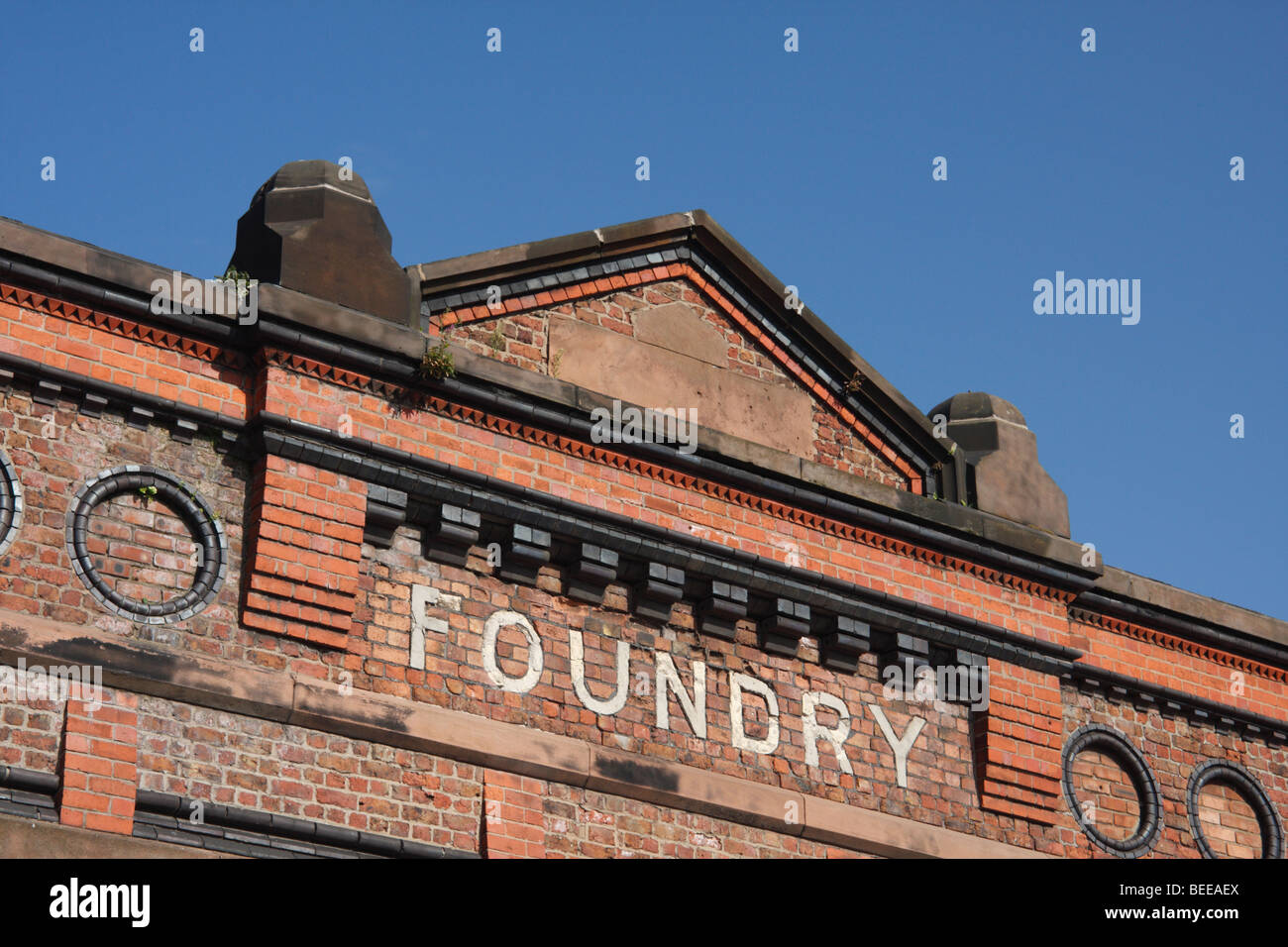 The former foundry building of Harland & Wolff Ltd, shipbuilders, Bootle, 4 miles north of Liverpool, England - Stock Image