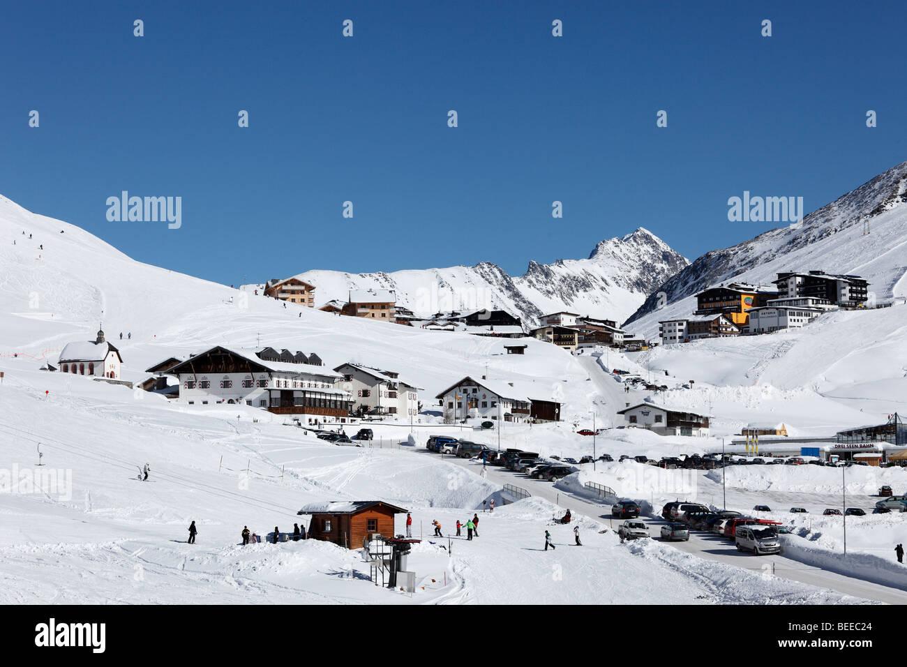 Skiing resort Kuehtai-Sattel, village Kuehtai, Stubai Alps, Tyrol, Austria - Stock Image