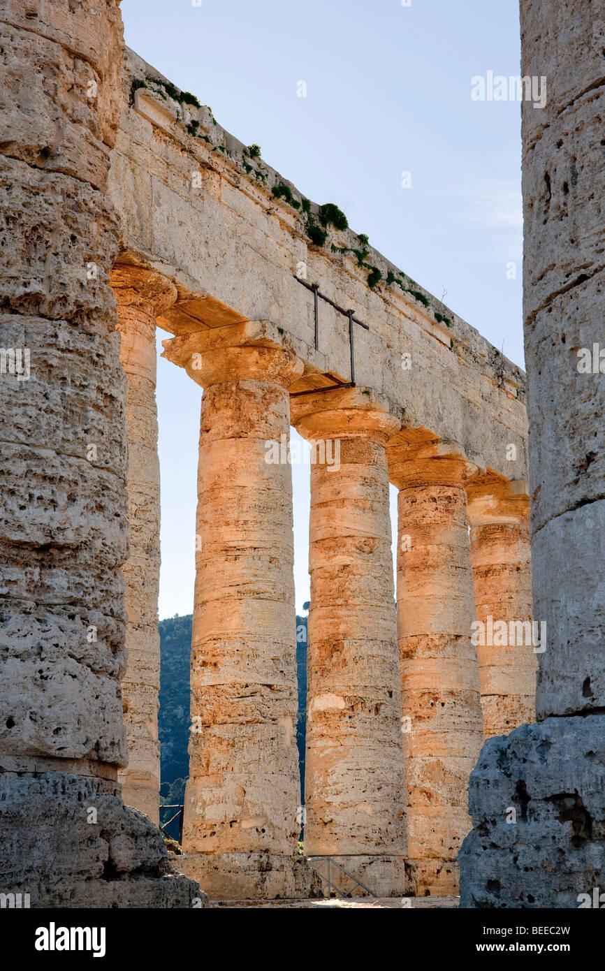 Doric Temple of Segesta, detail, Sicily, Italy, Southern Europe - Stock Image