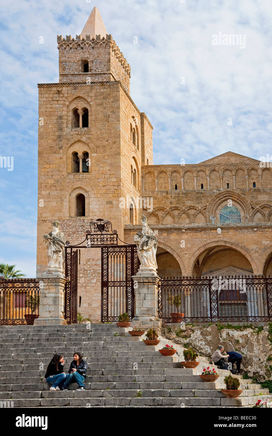 Flight of stairs in front of the cathedral of Cefalu, Sicily, Italy, Southern Europe - Stock Image
