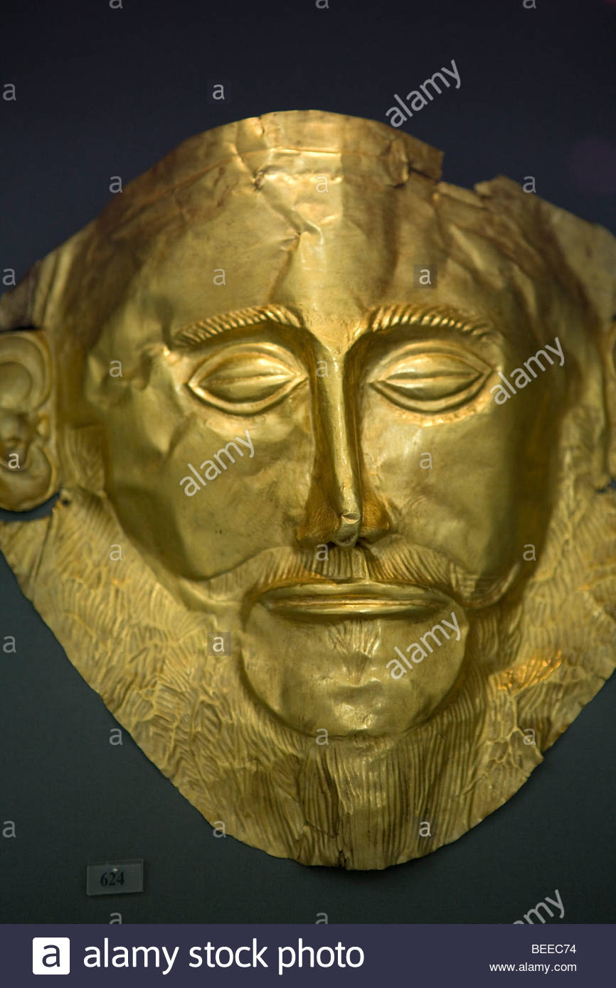Gold Death Mask of Agamemnon, National Archaeology Museum, Athens, Greece - Stock Image
