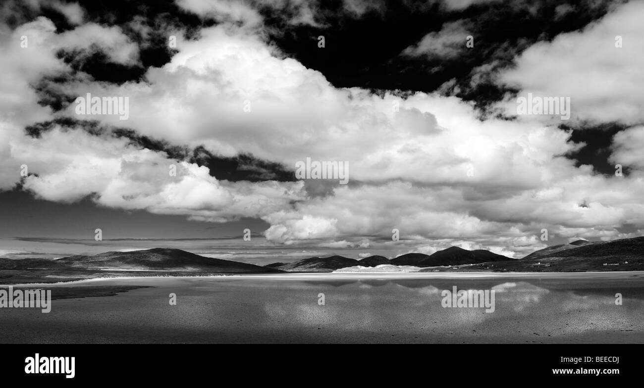 Clouds over Luskentyre beach, Isle of Harris, Outer Hebrides, Scotland. Panoramic. Black and White - Stock Image