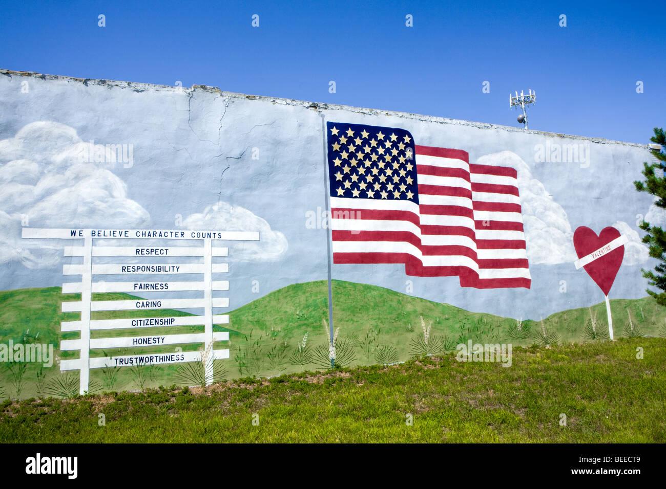 A conservative mural in Valentine, Nebraska - Stock Image