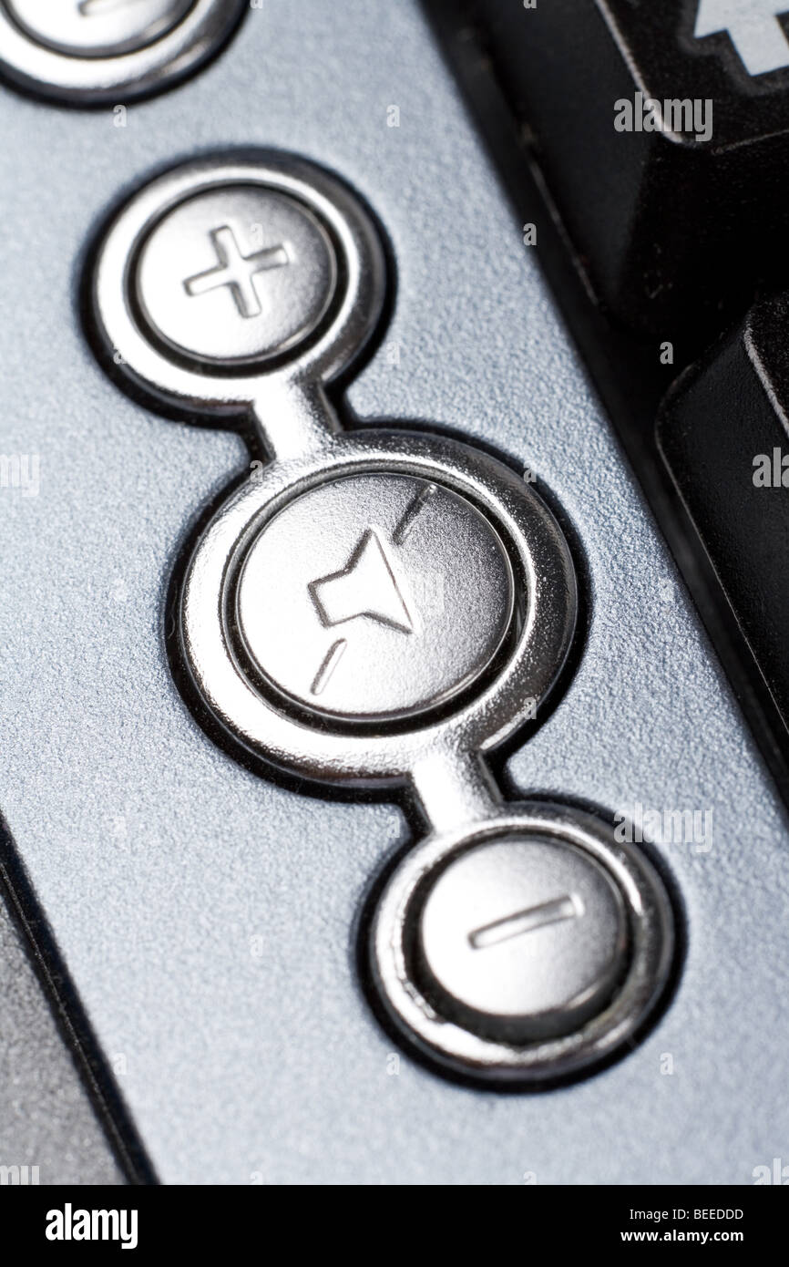 Speaker volume control key close up shot - Stock Image