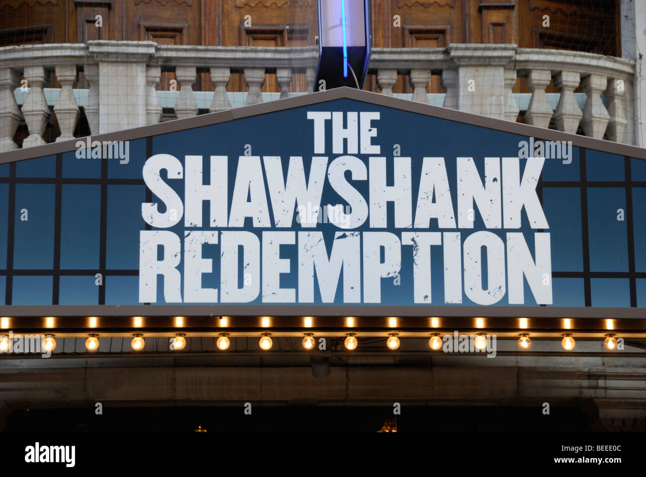 Sign promoting the London West End play ' The Shawshank Redemption ' - Stock Image