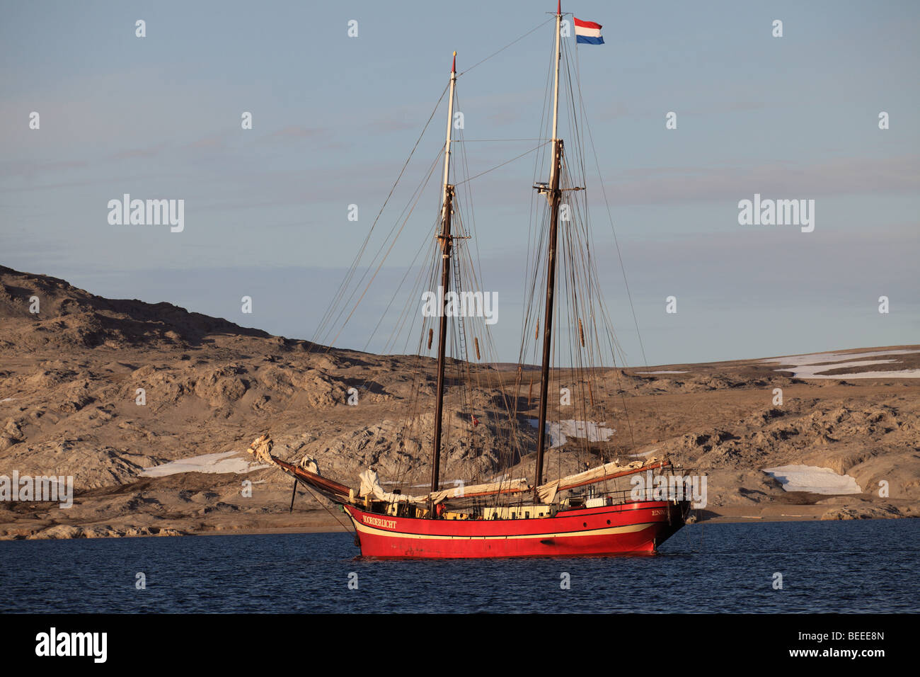 Tall Sailing Ship in the arctic ocean north of Svalbard - Stock Image