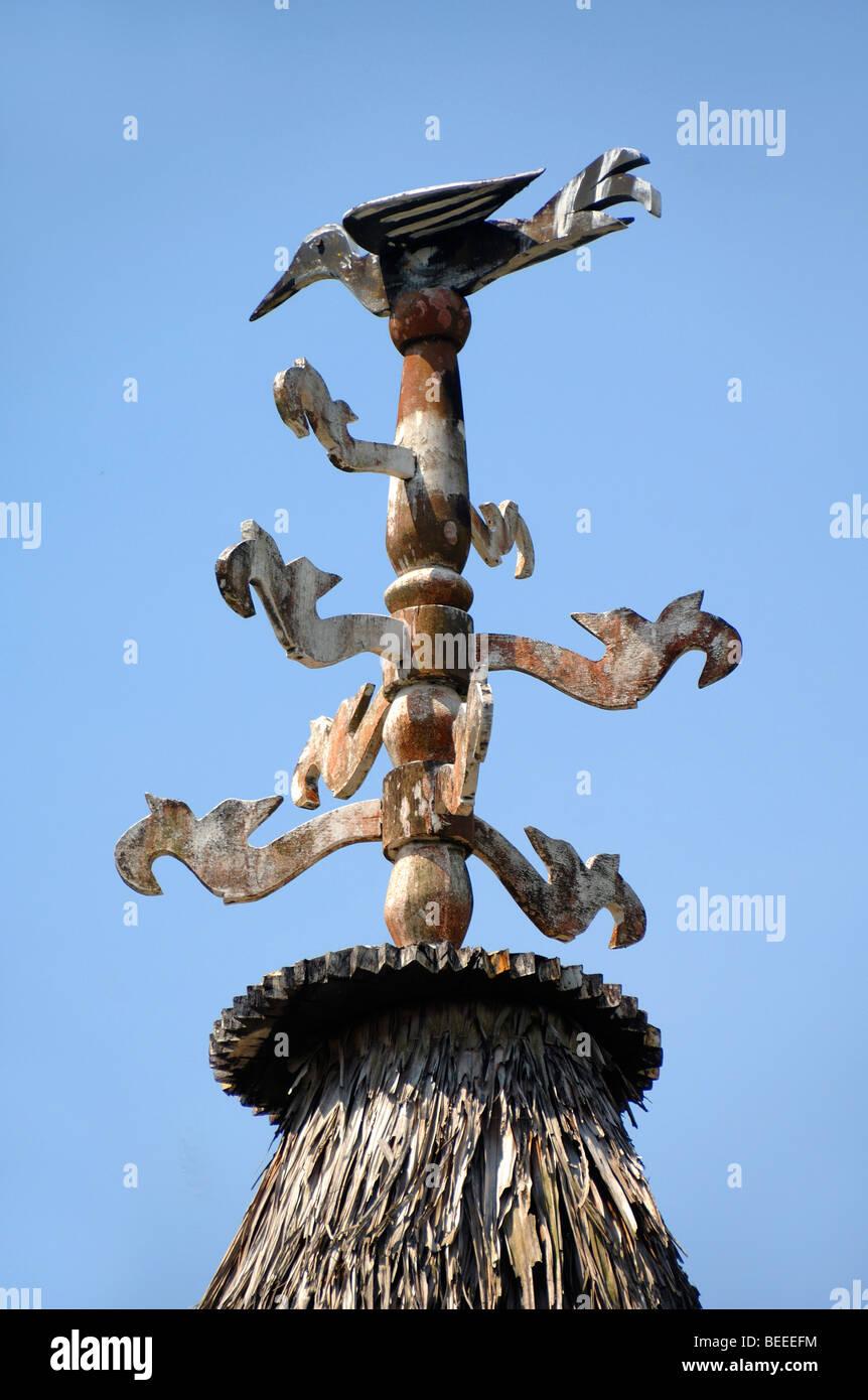Bidayuh Tribal Art Of A Ceremonial Totem Pole With Carved Bird Atop A Stock Photo Alamy