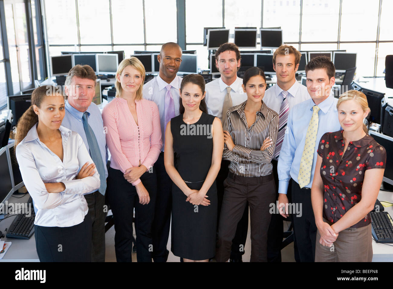 Group Photo Of Stock Traders Team - Stock Image