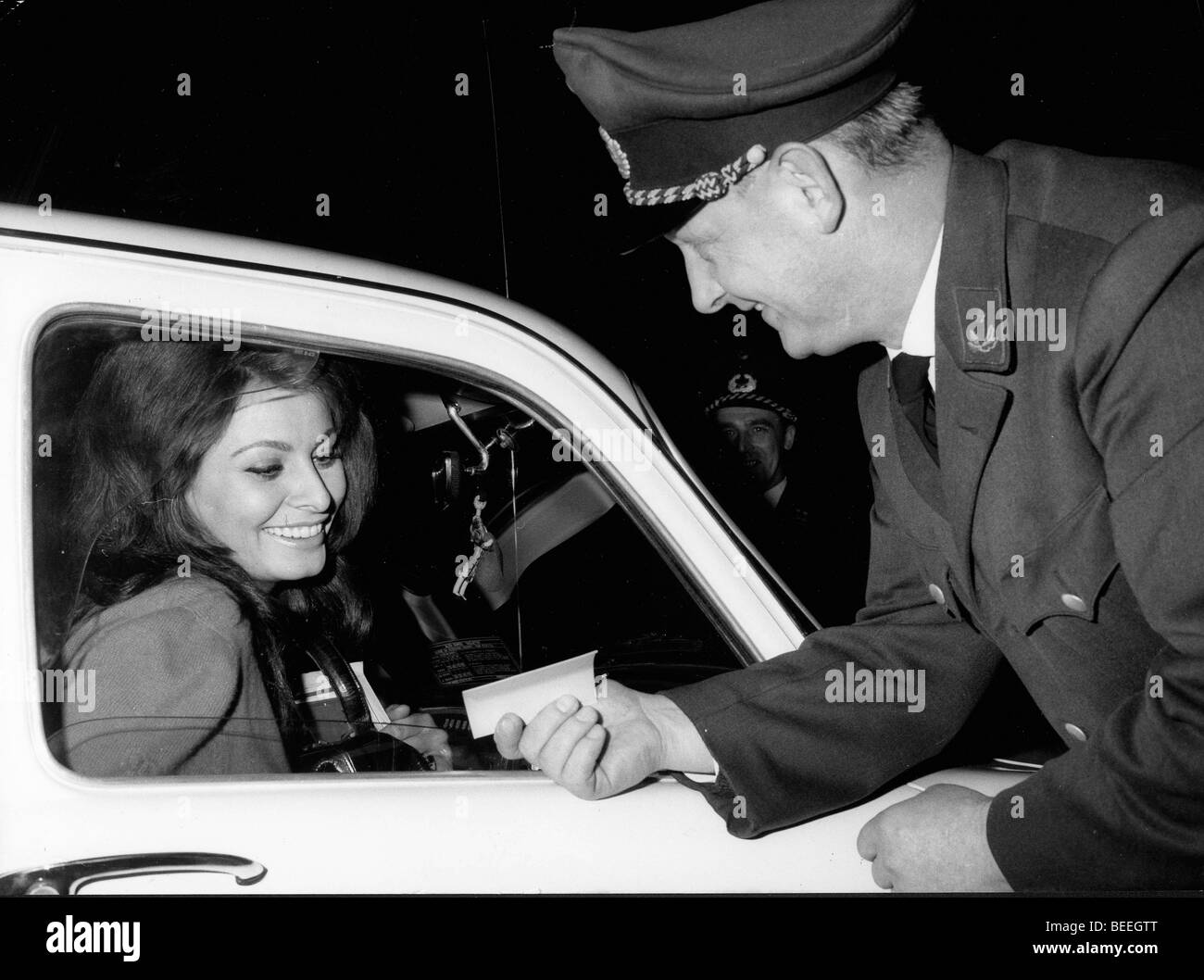 Actress Sophia Loren at a checkpoint in Germany - Stock Image