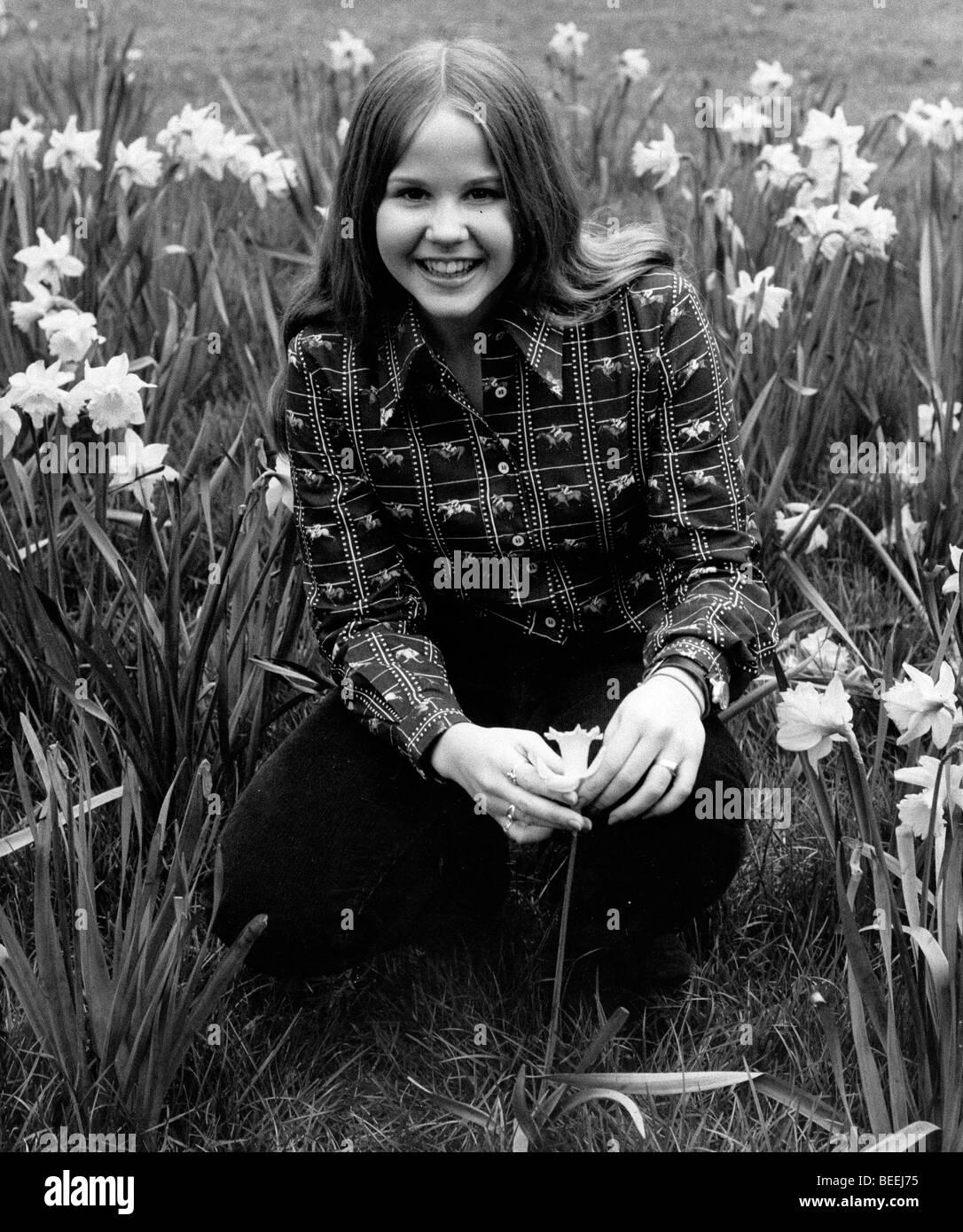 Actress Linda Blair posing with flowers. Stock Photo