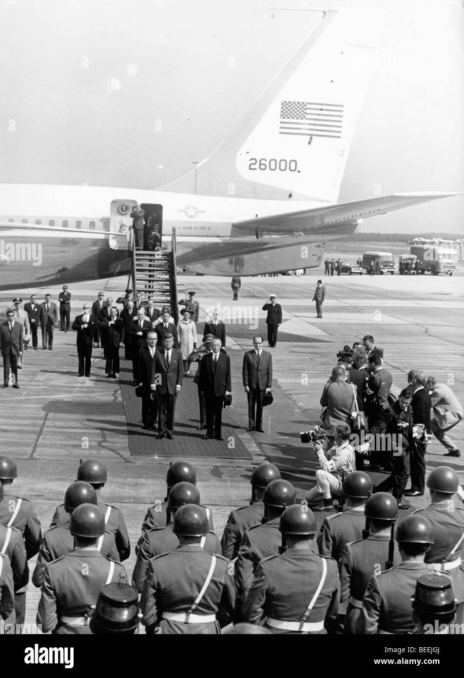 US President John Fitzgerald Kennedy arrives for an official visit to West Germany. Stock Photo