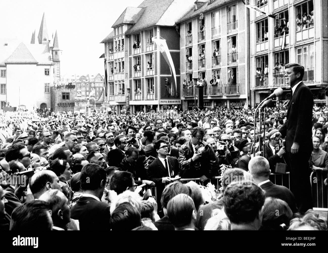 "US President John Fitzgerald Kennedy gives a public speech in West Berlin in which he famously said, ""Ich bin ein Stock Photo"