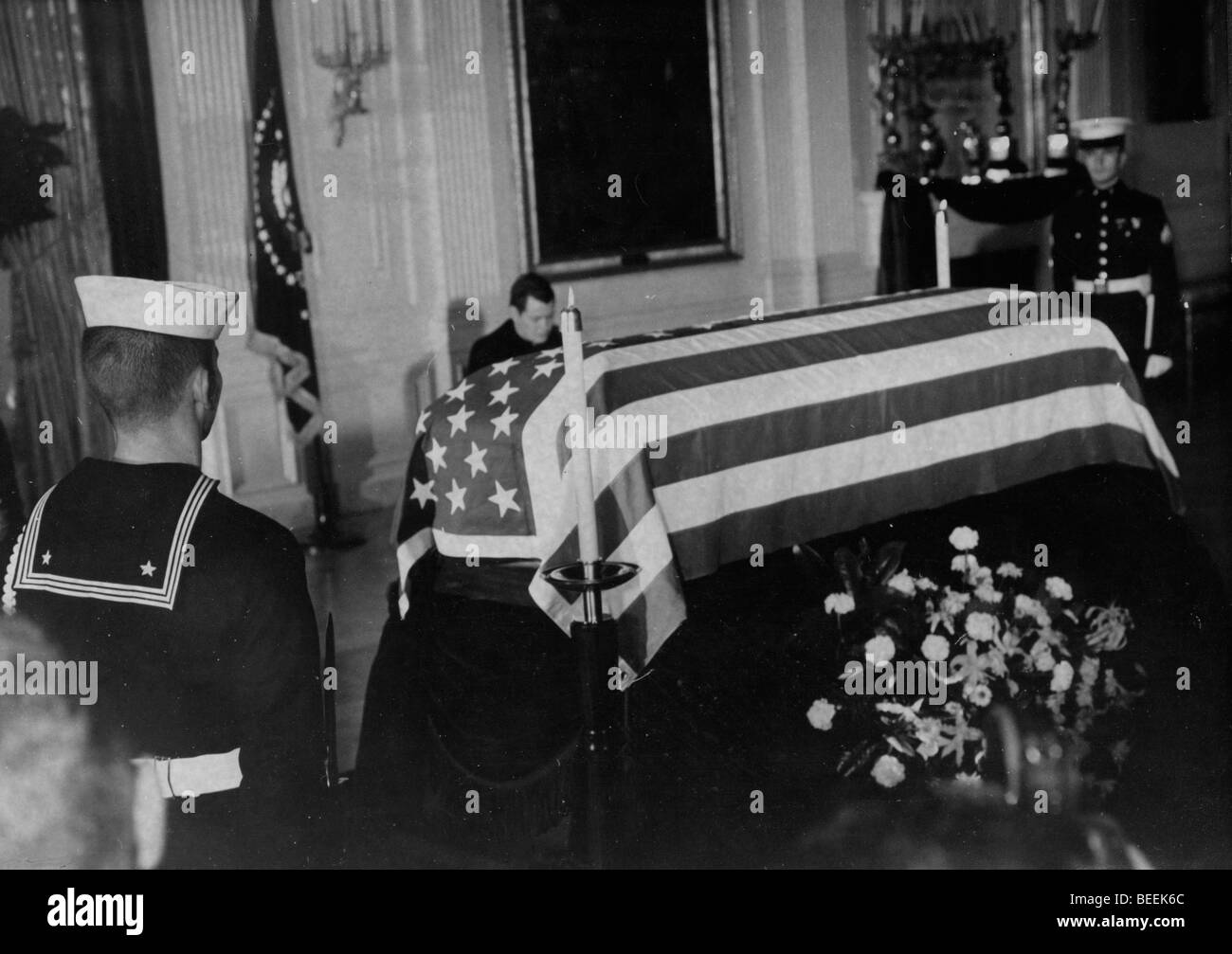 US President John Fitzgerald Kennedy lies in state after his assassination. Stock Photo