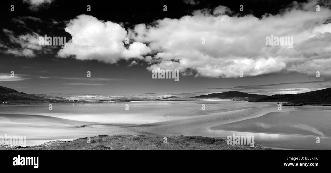 Luskentyre beach, Isle of Harris, Outer Hebrides, Scotland, Panoramic. Black and white - Stock Image