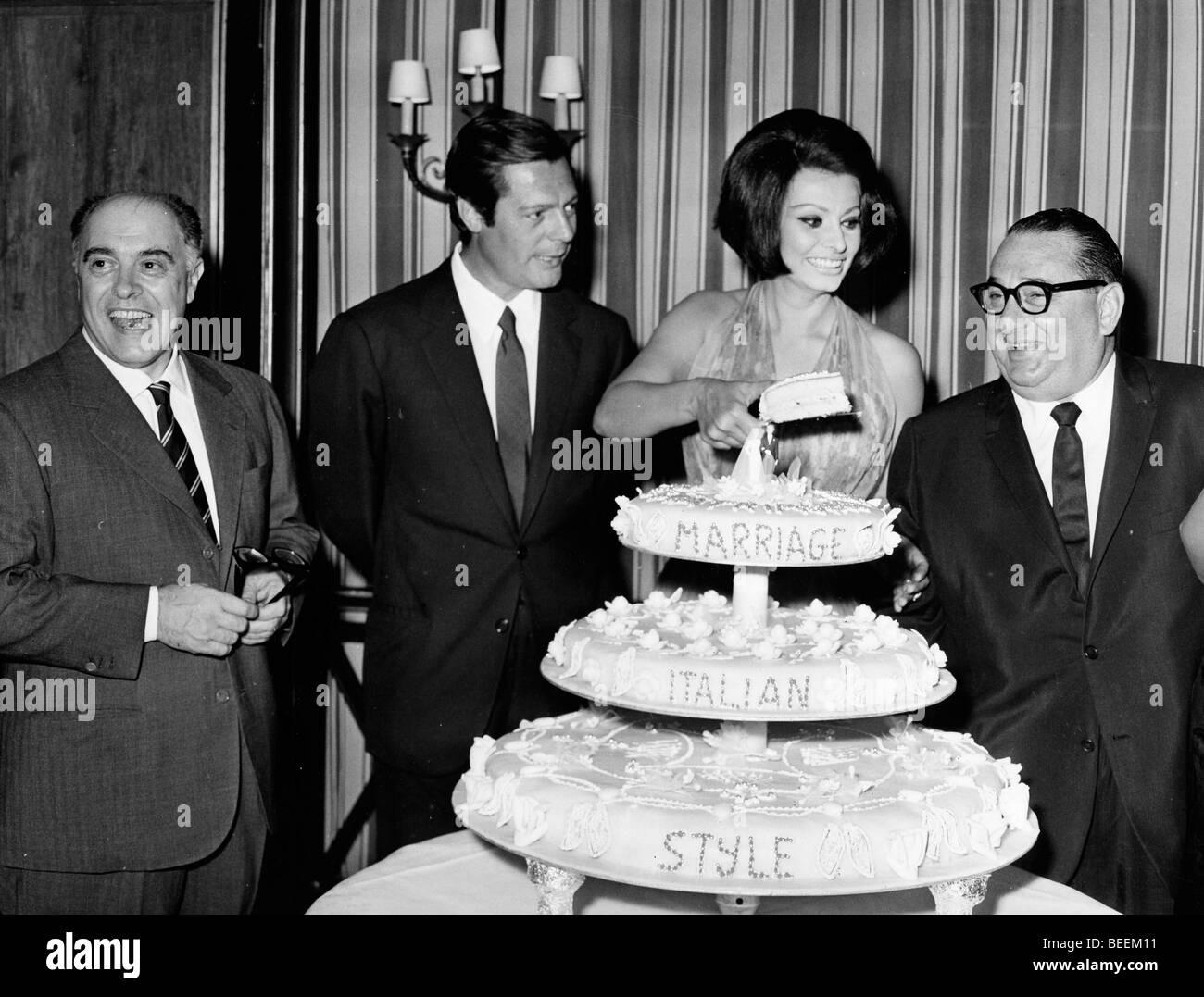 Actress Sophia Loren with Marcello Mastroianni and Joseph E Levine