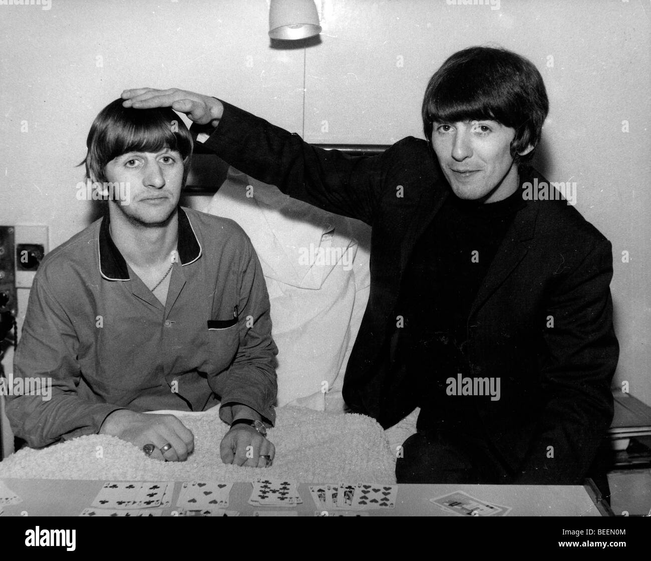 The Beatles George Harrison Visiting Band Mate Ringo Starr In Hospital