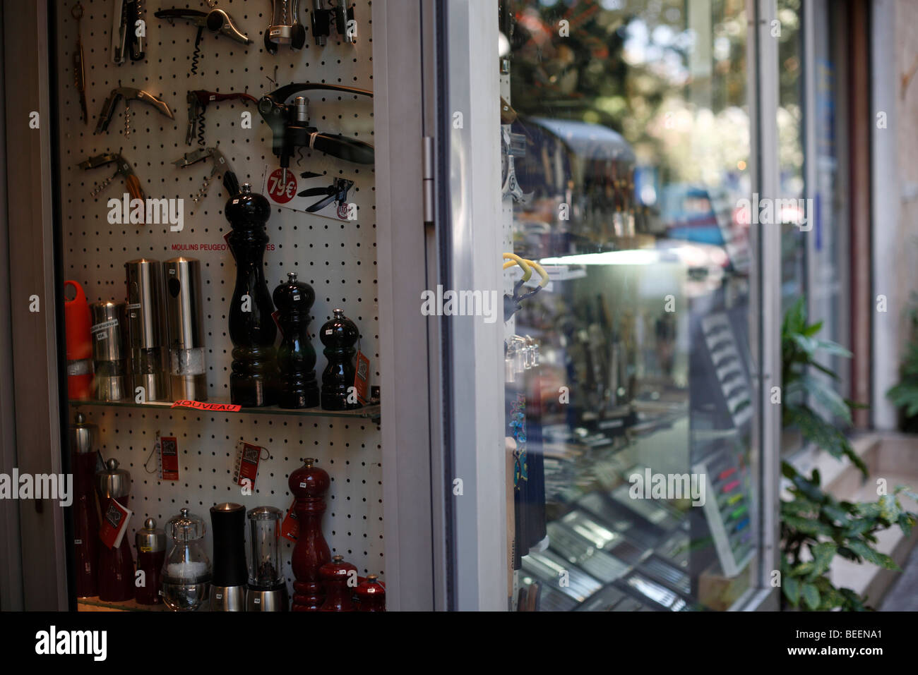 Pepper grinders and corkscrews for sale in a shop in Antibes on the Cote D'Azur in southern France - Stock Image