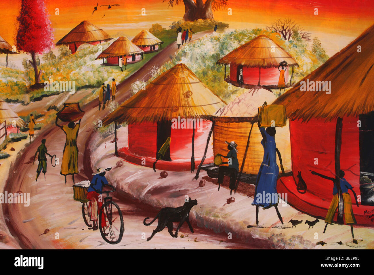 African Painting In Reds And Oranges Showing Typical Village Scene