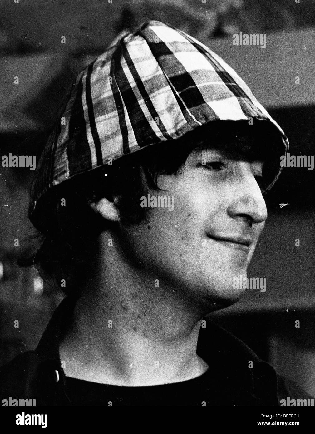 Beatles Singer John Lennon Wearing Plaid Hat