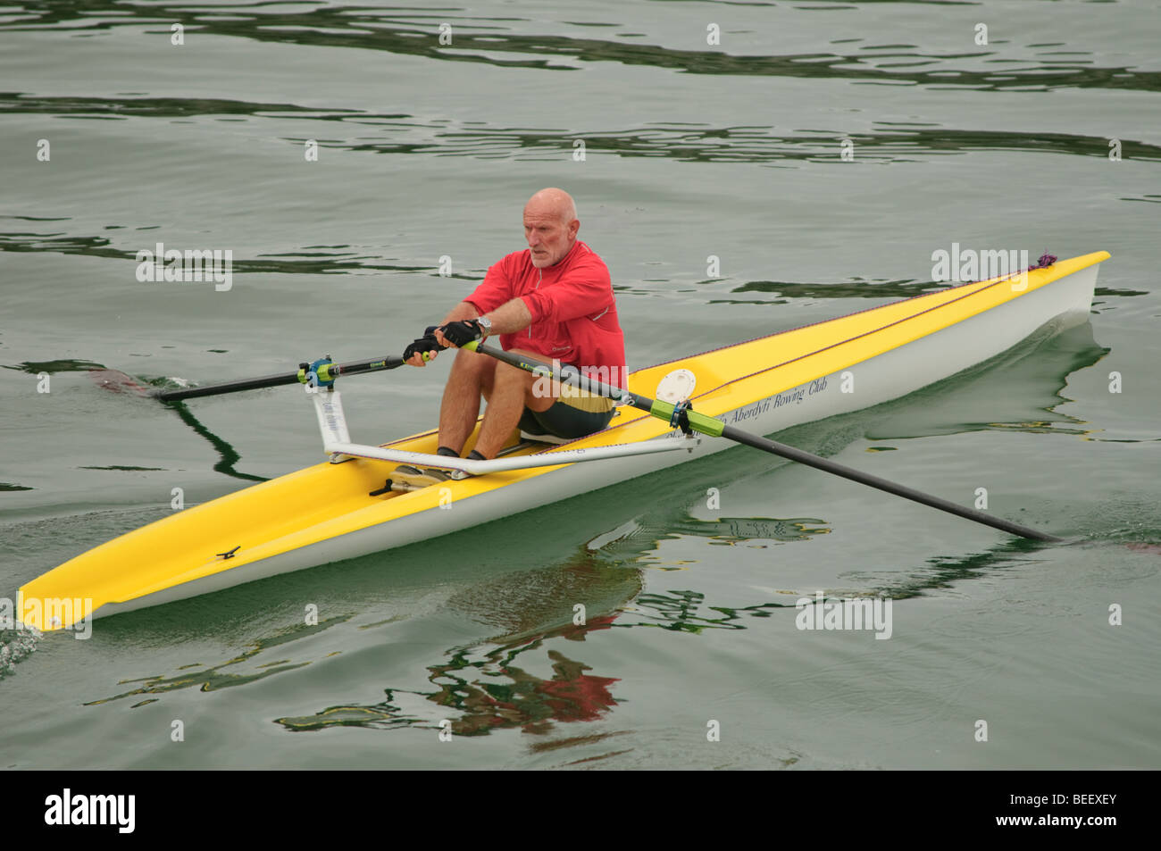 A healthy fit middle aged man sculling alone in a single seater solo scull rowing boat canoe kayak, UK - Stock Image