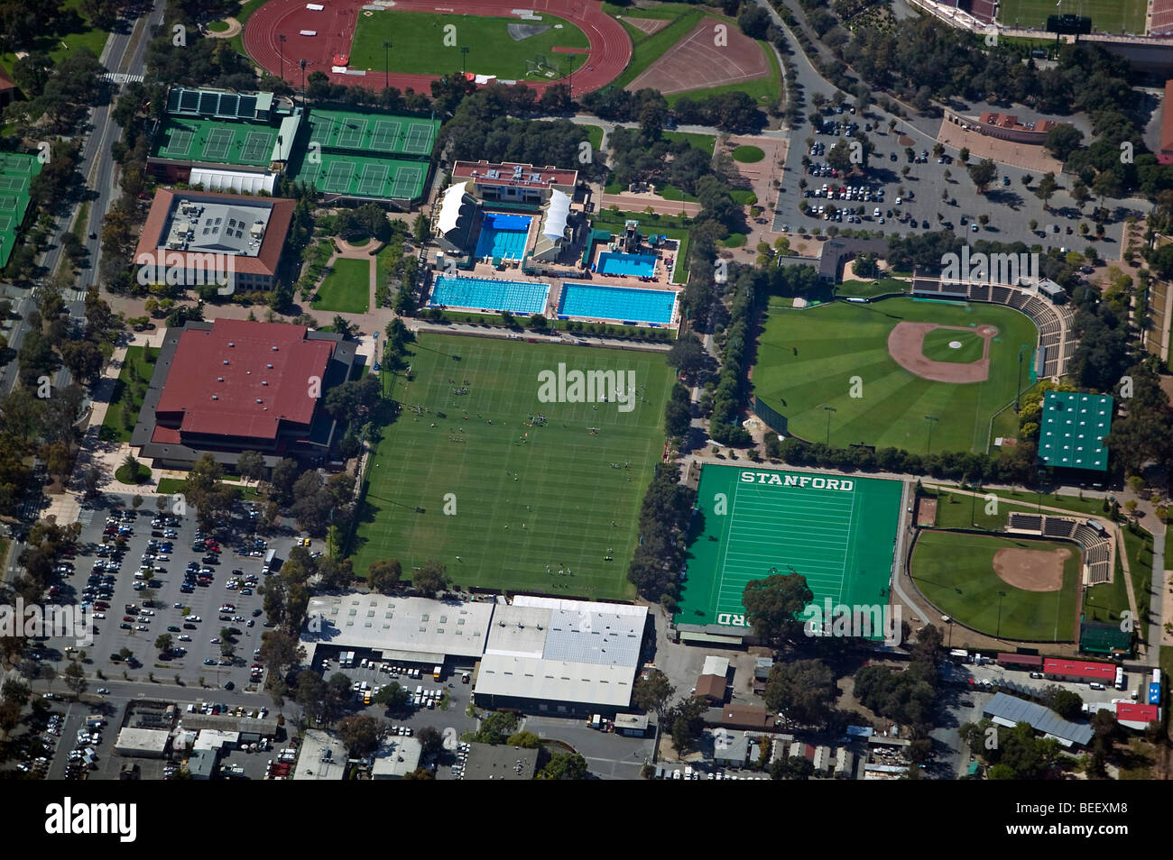 aerial view above Stanford University athletic facilities - Stock Image