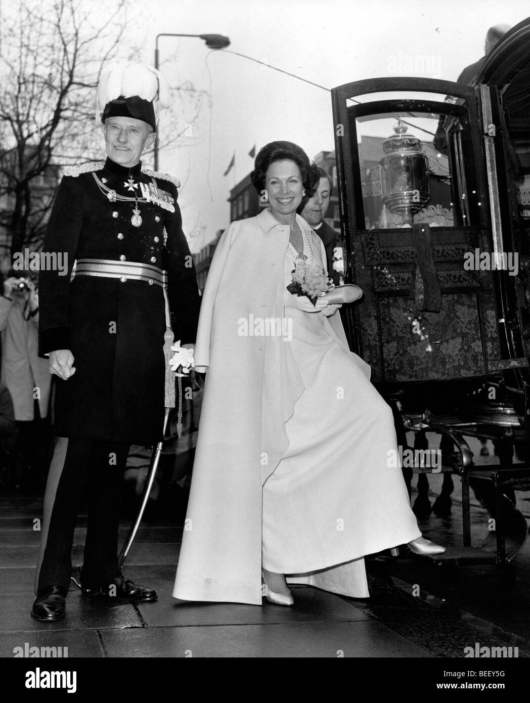 Princess Anne boarding a carriage. Stock Photo