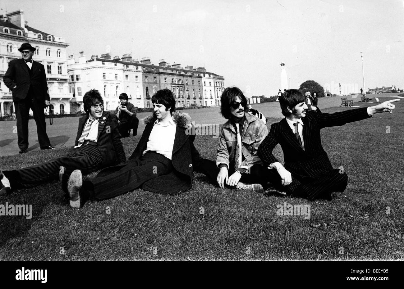 The Beatles film a television special Stock Photo