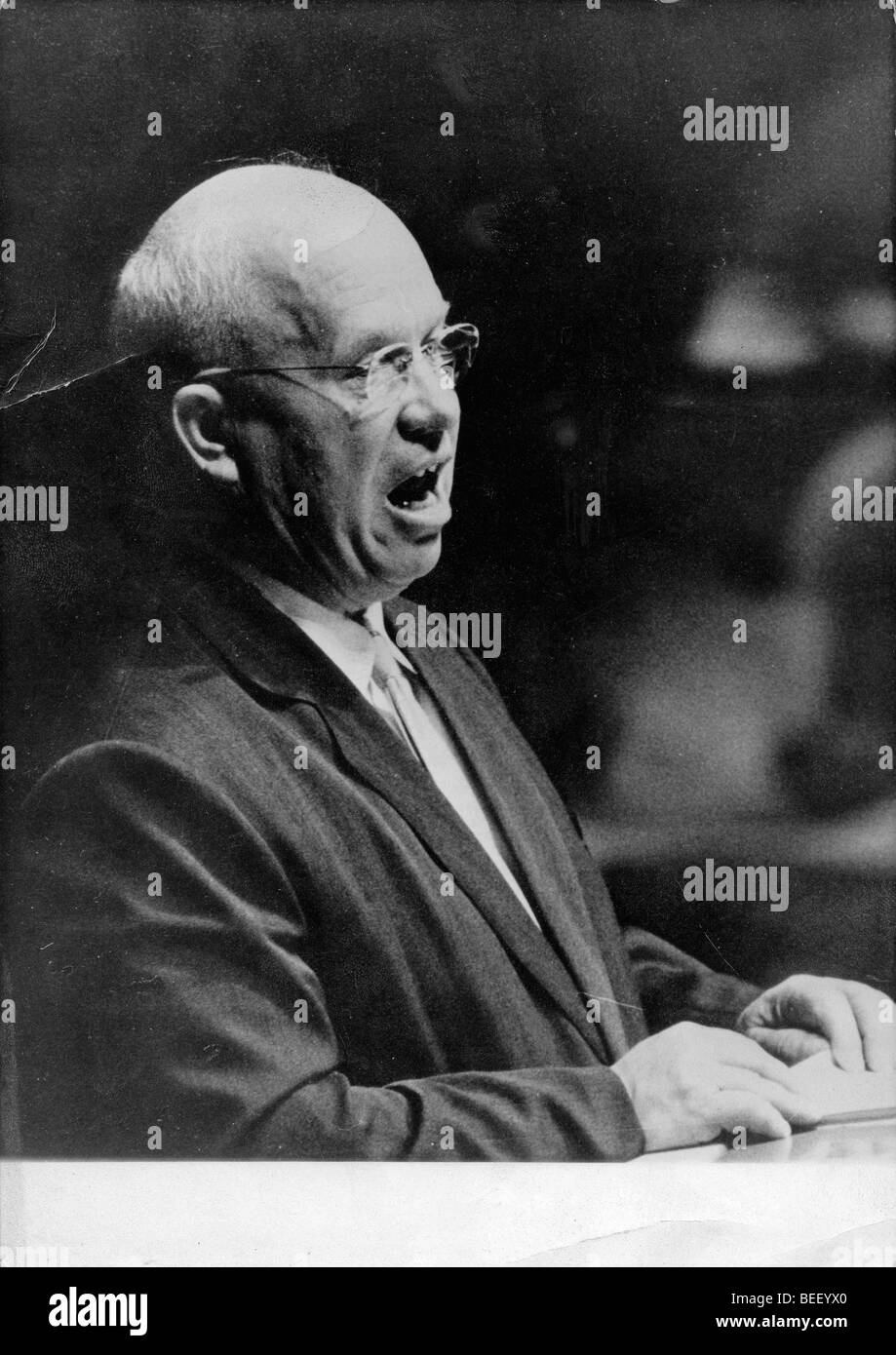 Soviet leader Nikita Khrushchev speaks at the UN General Assembly held at the United Nations building in New York. Stock Photo